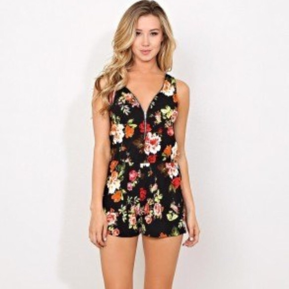 201417248db Ambiance Pants - Ambiance Floral Zipper Front Romper
